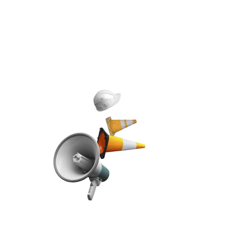 Pylone, Megaphon, Bauhelm,