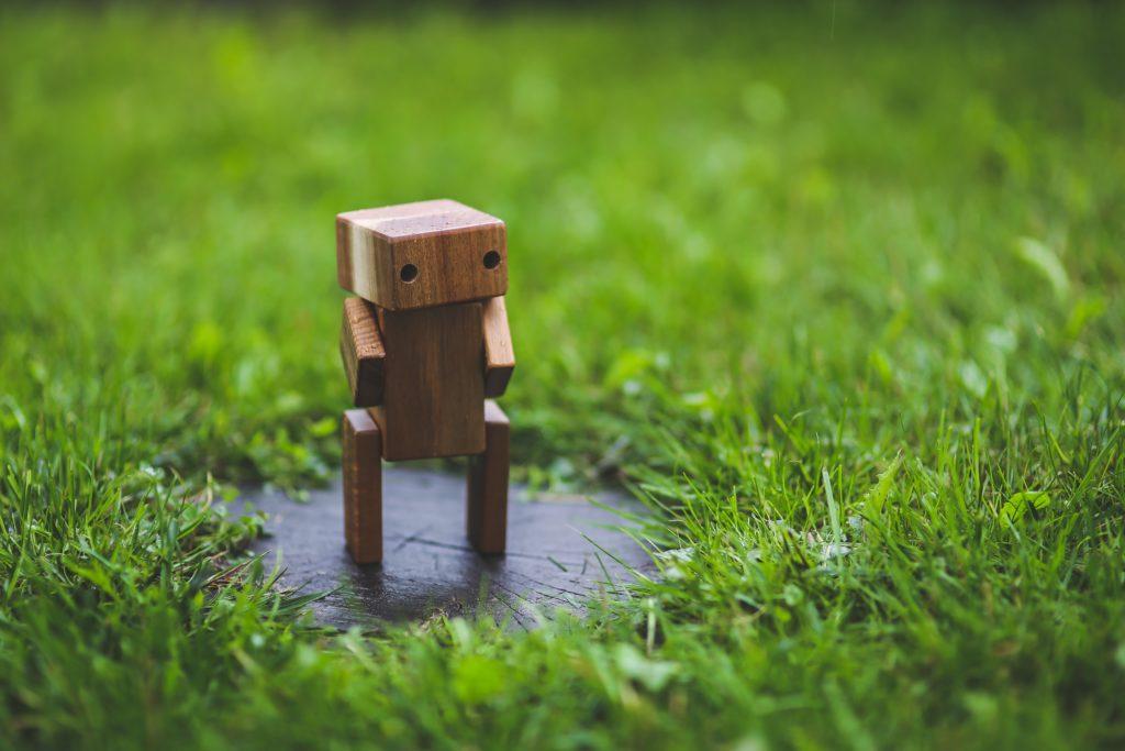 Holz-Bot im Gras / Chatbot